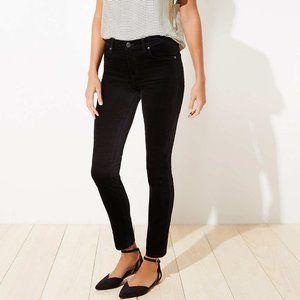 Loft Black Velveteen Stretch Skinny Pants 8 Petite